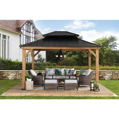 Crownhill 10 ft. x 12 ft. Hardtop Gazebo with Wood posts
