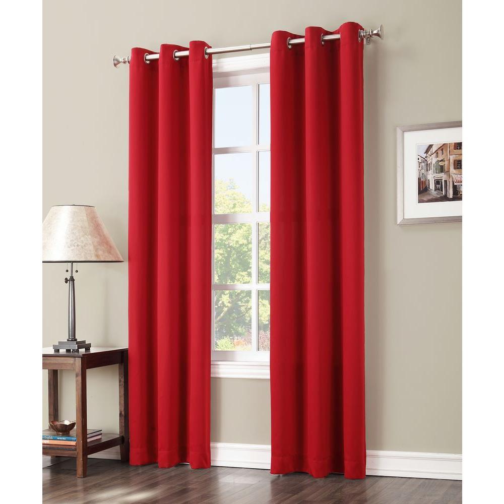Sun Zero Blackout Gavin 84 in. L Blackout Curtain Panel in Red