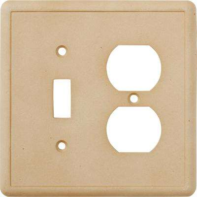 1 Toggle and 1 Duplex Combination Wall Plate, Travertine