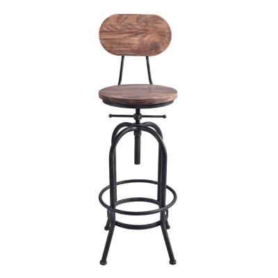 Archer Industrial 41-47 in. Silver Brushed Gray Adjustable Bar Stool with Rustic Pine Wood Seat and Back