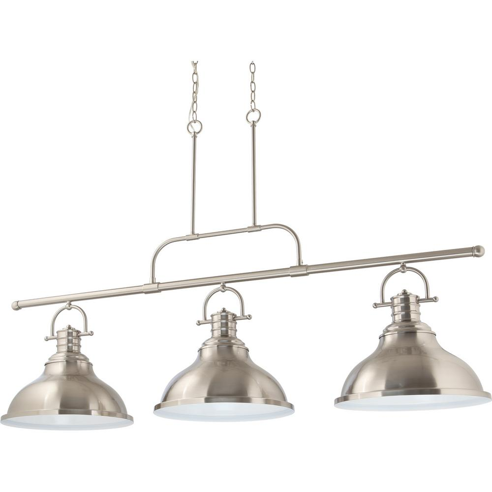 Volume Lighting 3 Light Integrated Led Indoor Brushed Nickel Linear Kitchen Island Hanging Pendant With Bell Shaped Bowls