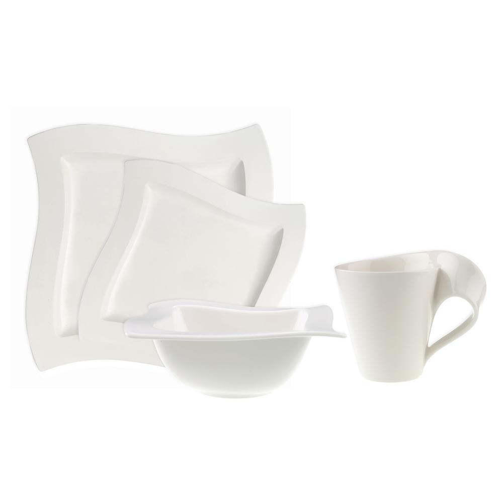 New Wave 4-Piece Modern White Porcelain Dinnerware Set (Service for 1)