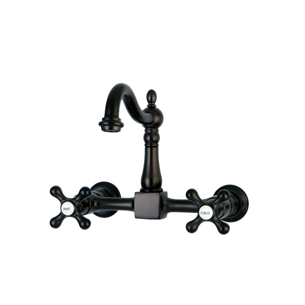 Kingston Brass Victorian Solid Cross 2-Handle Wall-Mount Kitchen Faucet In Oil Rubbed Bronze