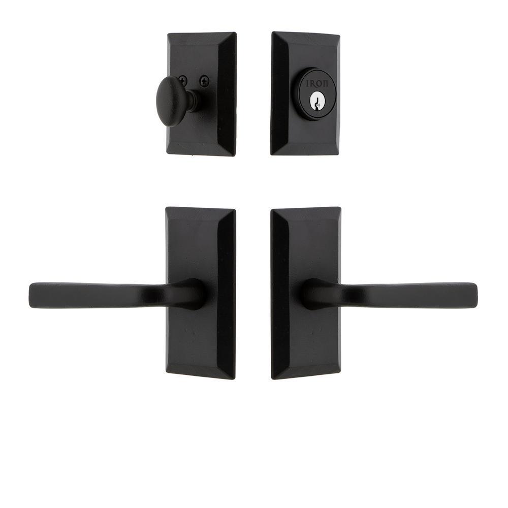 Vale Plate Black Iron Door Handleset Combo Pack With Lance Door Lever 657678 The Home Depot