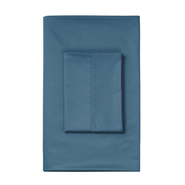 The Company Store Steel Blue Solid 450 Thread Count Wrinkle-Free Sateen King Deep Flat Sheet