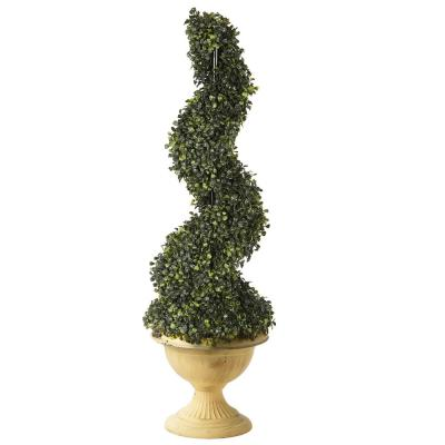 39 in. Boxwood Sprial Topiary in Yellow Pot