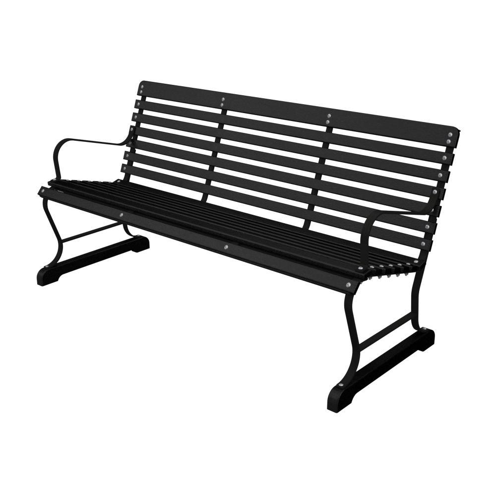60 in. Black and Black Plastic Outdoor Patio Bar Bench