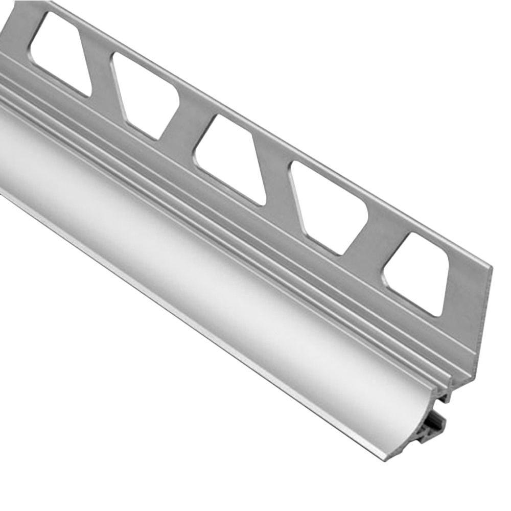 Dilex-AHKA Satin Anodized Aluminum 3/8 in. x 8 ft. 2-1/2 in. Metal Cove-Shaped Tile Edging Trim