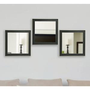 19.5 inch x 19.5 inch Vintage Black Square Mirrors (Set of 3) by