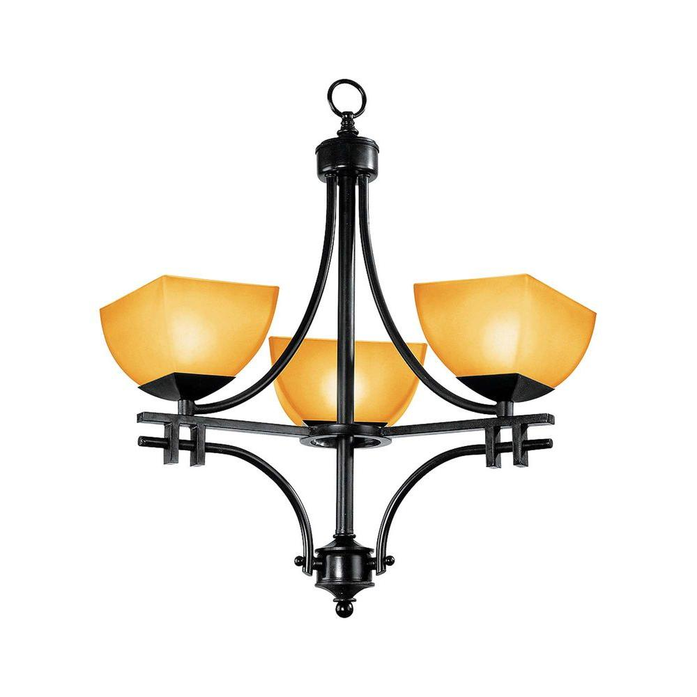 Access Lighting 3-Light Chandelier Antique Bronze Finish Amber Glass-DISCONTINUED