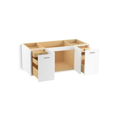 Jute 48 in. Vanity in Linen White with Vitreous China Vanity Top in White