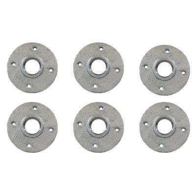 2 in. Galvanized Malleable Iron FPT Floor Flange (6-Pack)