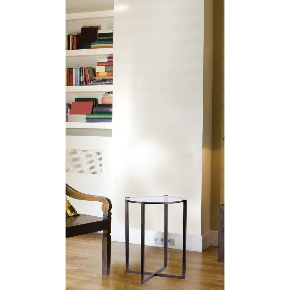 Lodin Satin Bronze Glass Top End Table