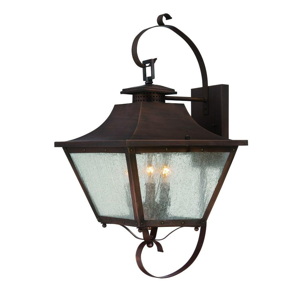 Acclaim Lighting Lafayette Collection 3 Light Copper Patina Outdoor Wall Mount Light Fixture