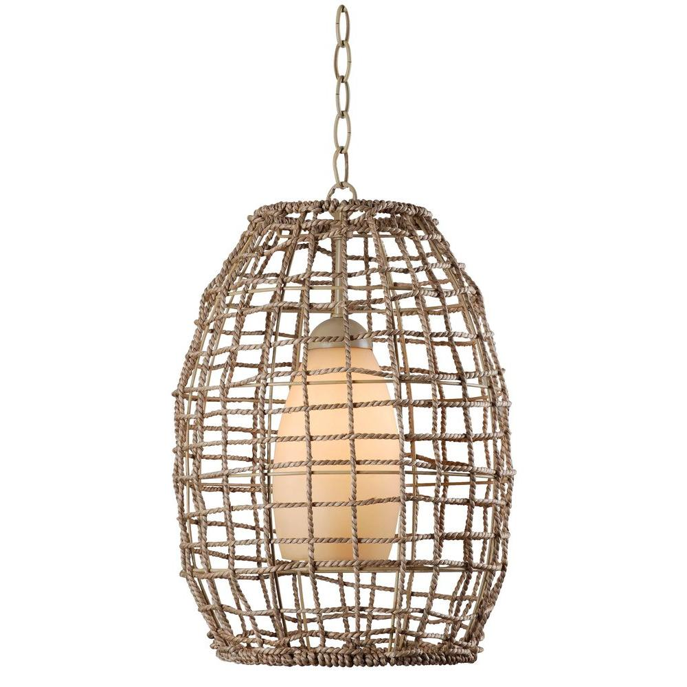 Kenroy home seagrass 1 light tan rope pendant 93316tn the home depot kenroy home seagrass 1 light tan rope pendant aloadofball Choice Image