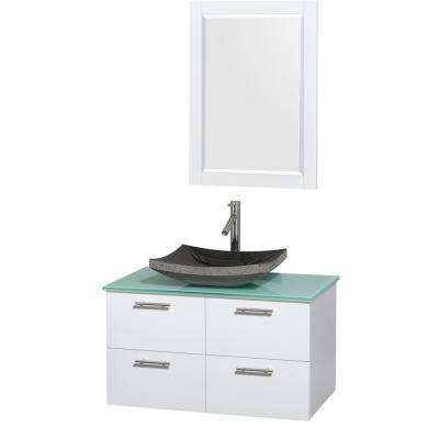 Amare 36 in. Vanity in Glossy White with Glass Vanity Top in Green, Granite Sink and 24 in. Mirror