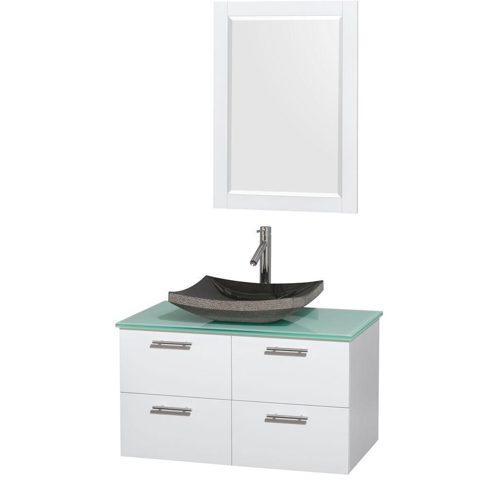 Wyndham Collection Amare 36 in. Vanity in Glossy White with Glass Vanity Top in Green, Granite Sink and 24 in. Mirror