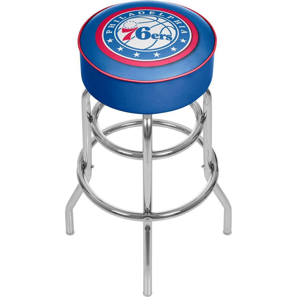 Trademark Philadelphia 76ers NBA 31 in. Chrome Padded Swivel Bar Stool
