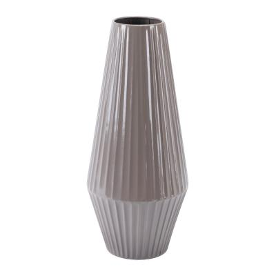 Dark Gray Metal Medium Decorative Vase