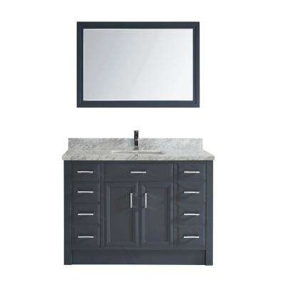 Calais 48 in. W x 22 in. D Vanity in Pepper Gray with Marble Vanity Top in Gray with White Basin and Mirror