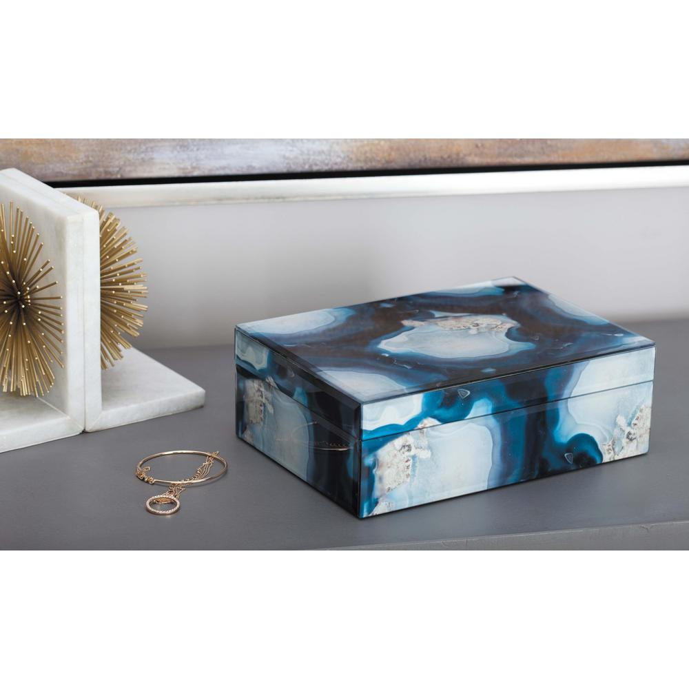 Litton Lane Jewelry Box With Marbling Panels In Blue And Black 35731