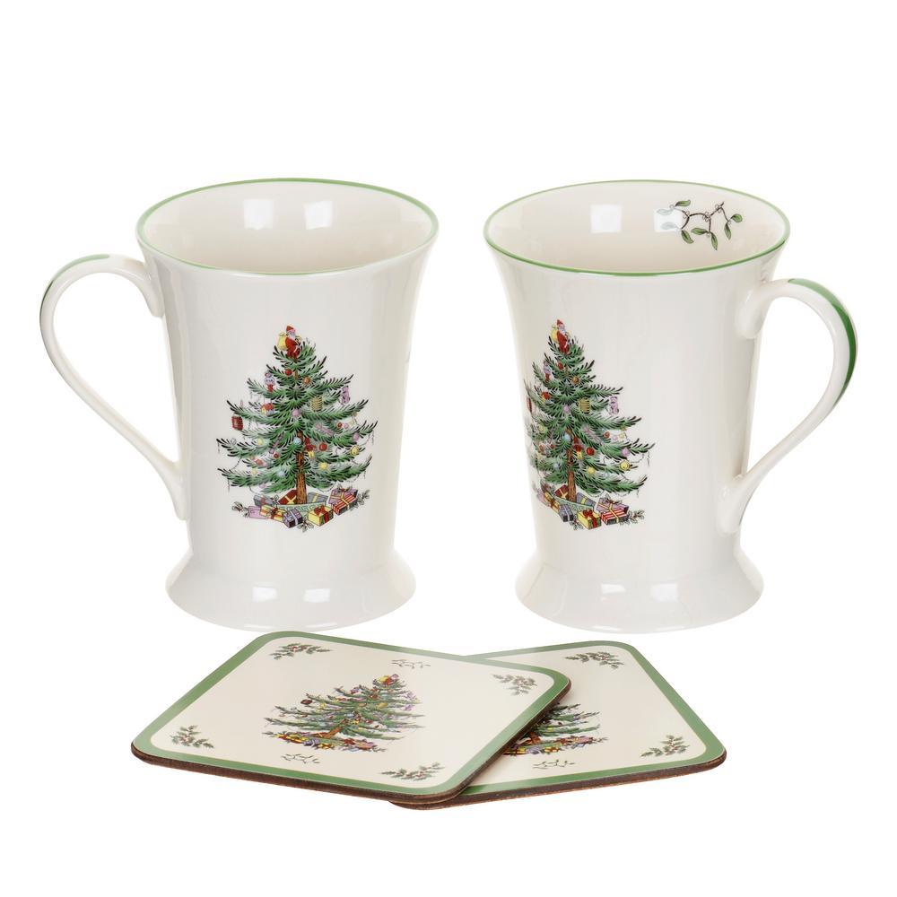 Christmas Tree 10 oz. Mugs and Coasters (4-Piece Set)