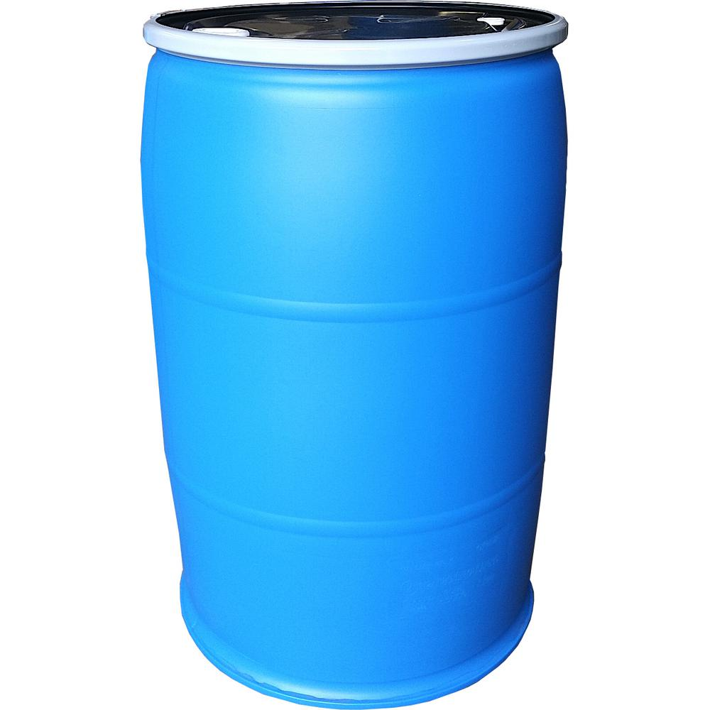 55 Gal Open Top Plastic Industrial Drum With Lid And Lock Band Off Color