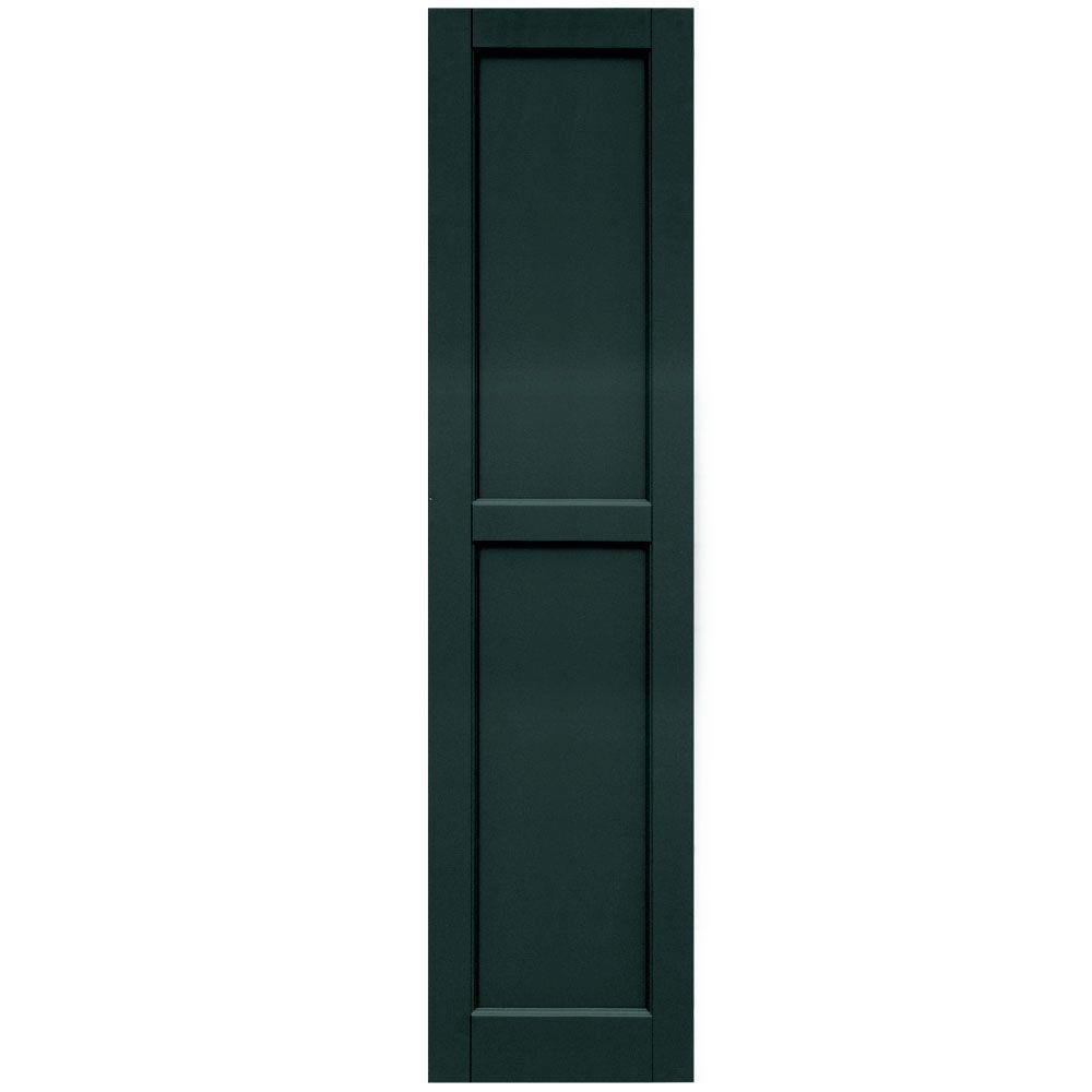 Winworks Wood Composite 15 in. x 61 in. Contemporary Flat Panel Shutters Pair #638 Evergreen