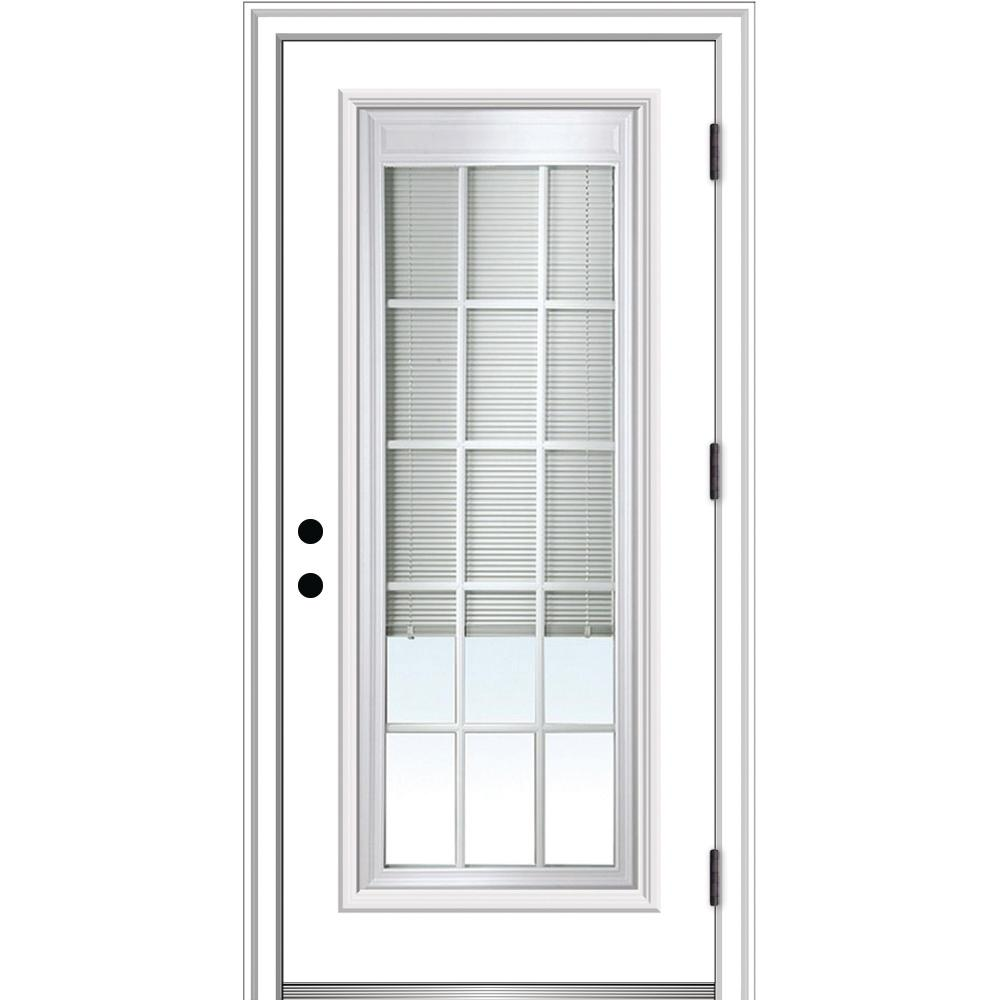 Mmi Door 32 In X 80 Internal Blinds And Grilles Left Hand Outswing Full Lite Clear Primed Steel Prehung Front