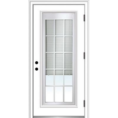 32 in. x 80 in. Internal Blinds and Grilles Left Hand Outswing Full Lite Clear Primed Steel Prehung Front Door