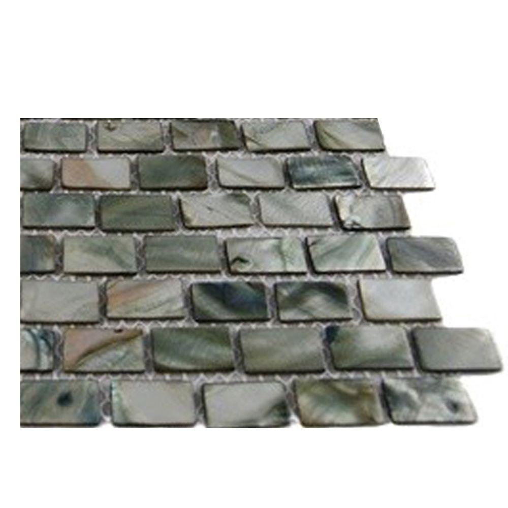 - Ivy Hill Tile Pitzy Brick Donegal Gray Pearl Glass Tile Mini Brick