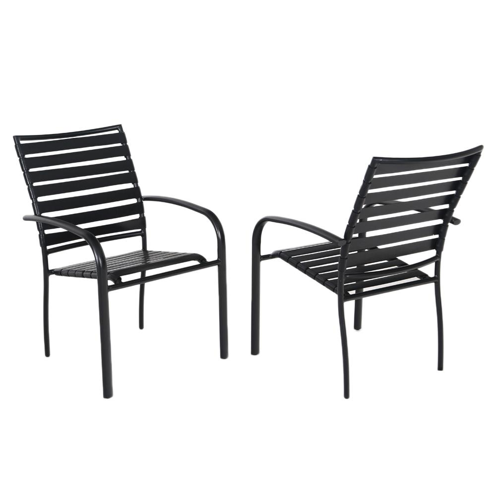 Commercial Aluminum Outdoor Dining Chair in Black (4-Pack)