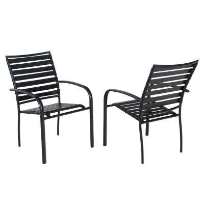 Commercial Aluminum Outdoor Dining Chair In Black 4 Pack