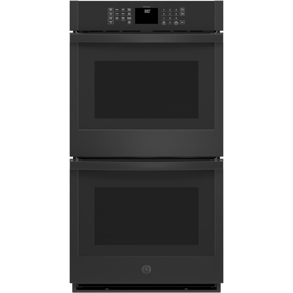 GE 27 in. Smart Double Electric Wall Oven Self-Cleaning with Steam in Black