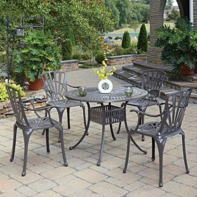 Grenada Taupe Tan 42 in. 5-Piece Cast Aluminum Round Outdoor Dining Set