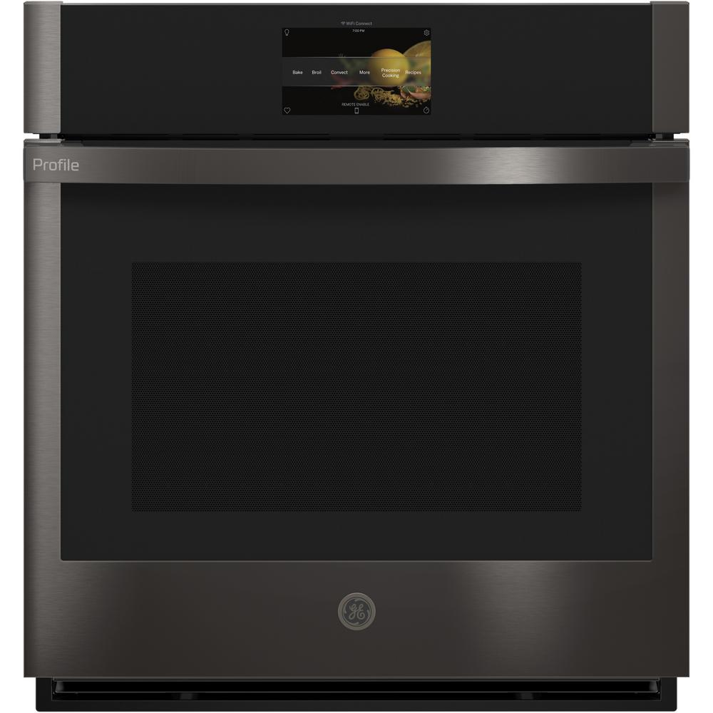 GE Profile 27 in. Single Electric Smart Wall Oven with Convection Self-Cleaning and Wi-Fi in Black Stainless Steel