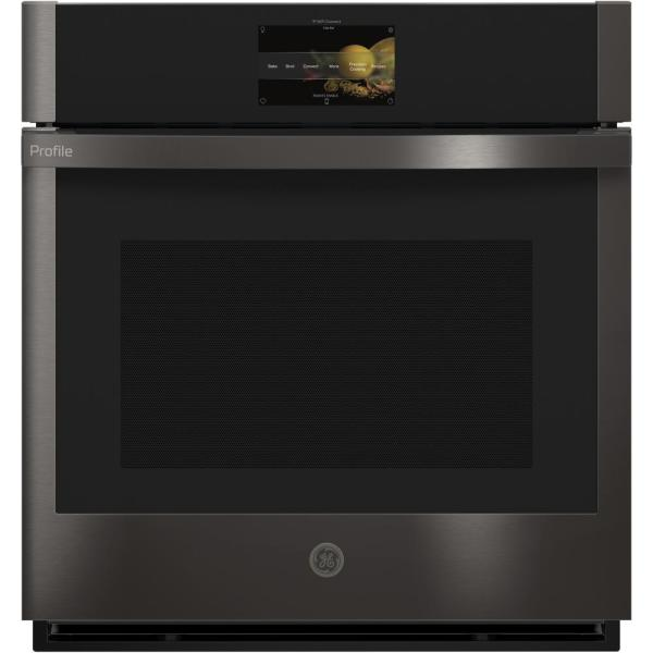 Profile 27 in. Smart Single Electric Wall Oven with Convection Self-Cleaning in Black Stainless Steel