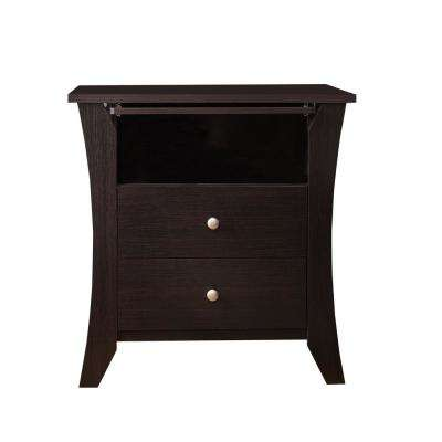 Kim 2-Drawer Espresso Nightstand
