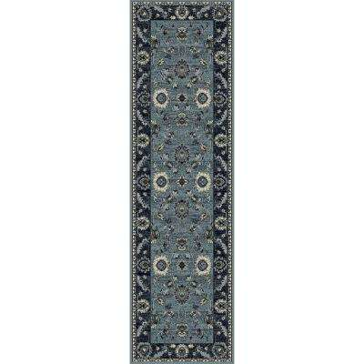 Maison Simply Open Medium Blue 2 ft. x 8 ft. Runner Rug