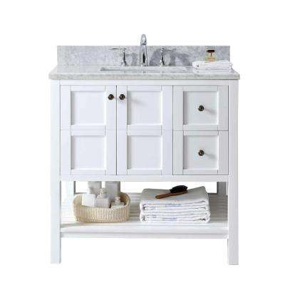 Winterfell 36 in. W x 22 in. D Single Vanity in White with Marble Vanity Top in Carrara White with White Basin