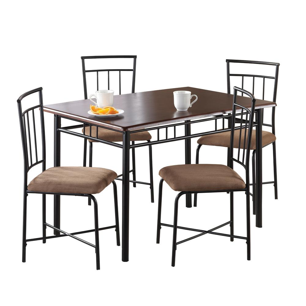 Dorel Living Ellyn 5 Piece Deep Walnut Wood Metal Dining Set De88682 The Home Depot