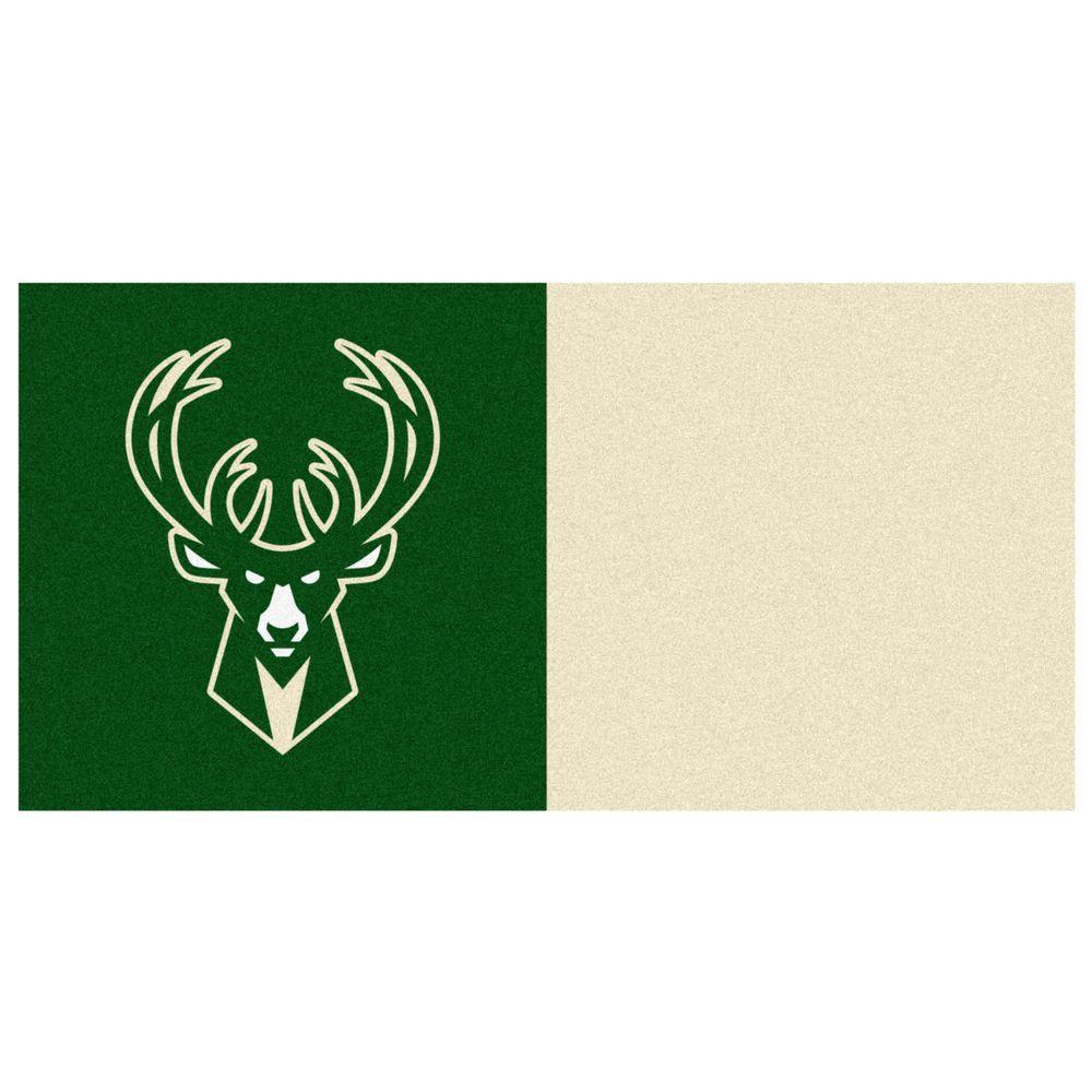 FANMATS NBA Milwaukee Bucks Green and Cream Pattern 18 in. x 18 in. Carpet Tile (20 Tiles/Case)