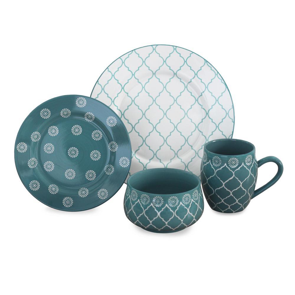 Moroccan 16-Piece Dinnerware Set in Turquoise