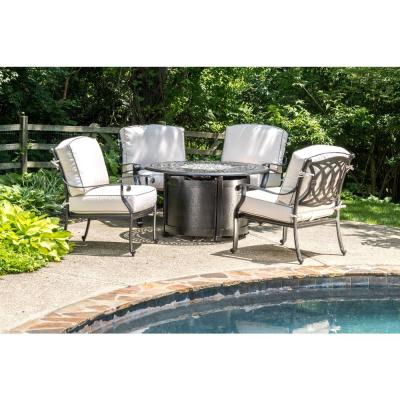 Lisbon 44 in. x 44 in. Round Aluminum Propane Fire Pit with Glacier Ice Firebeads