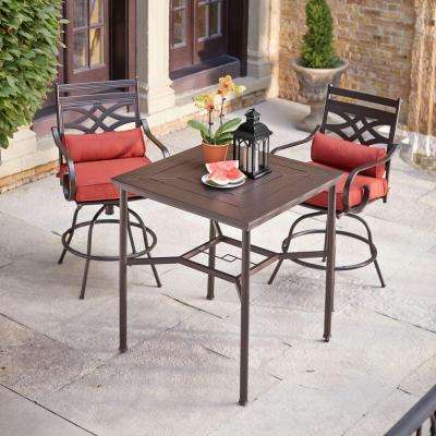 Middletown 3-Piece Motion High Patio Dining Set with Chili Cushions - Roasted Brown - Metal Patio Furniture - Bar Height Dining Sets