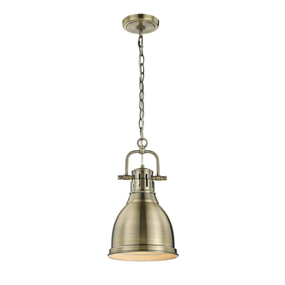 Wyman Collection 1-Light Aged Brass Mini Pendant