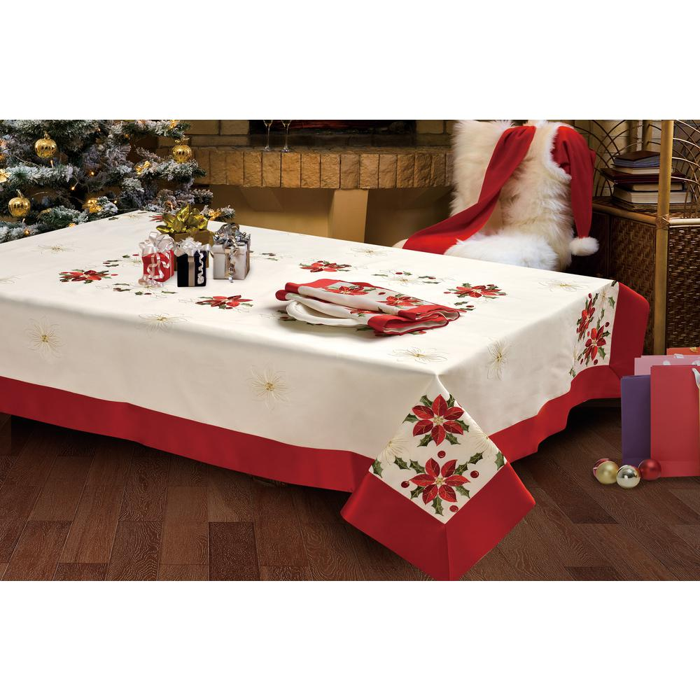 CHI Holiday 70 In. X 120 In. Poinsettia Embroidered Rectangular Tablecloth  With Red Trim