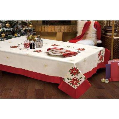 Holiday 70 In. X 120 In. Poinsettia Embroidered Rectangular Tablecloth With  Red Trim Border