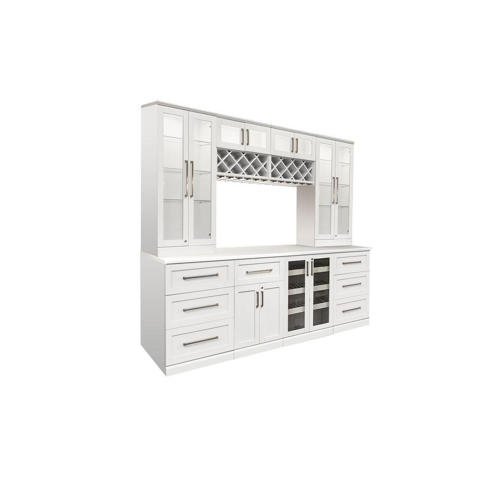 Bar White Shaker Style Bar Cabinet White Woodgrain