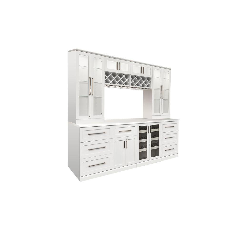 Newage Bar White Shaker Bar Cabinet White Woodgrain